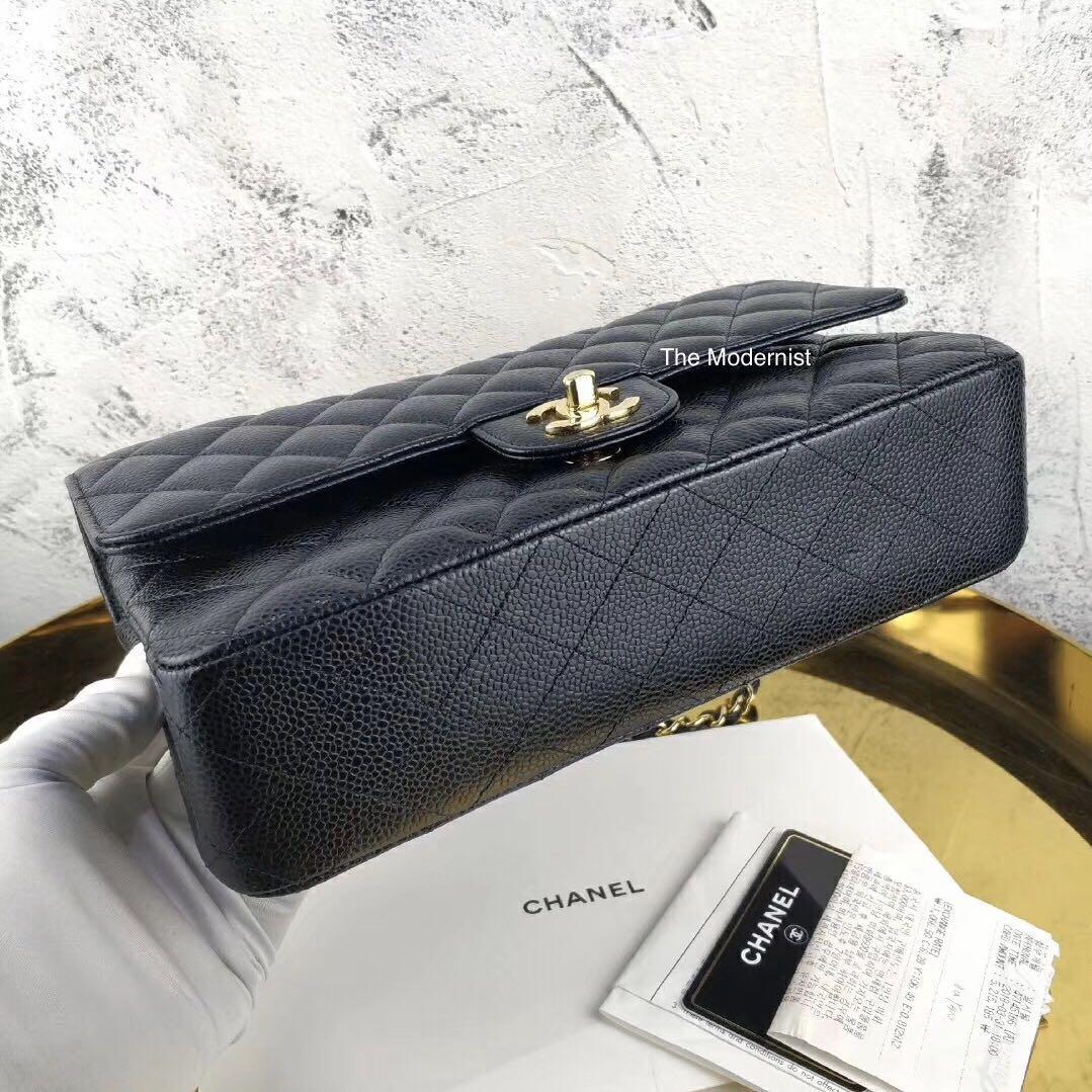 Authentic Chanel Medium Black Caviar Leather Gold Hardware Double Flap