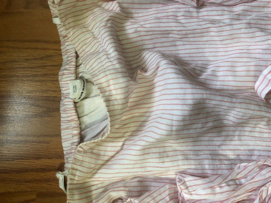 Club Monaco off shoulder white and pink striped top