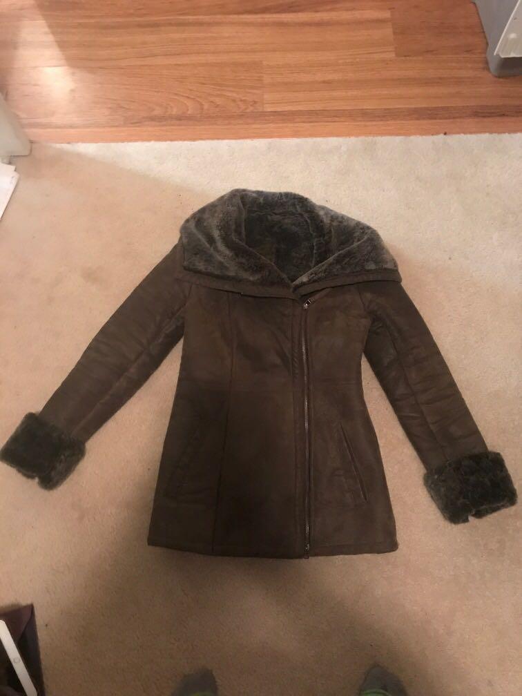 Daniel genuine  leather brown coat with fur interior