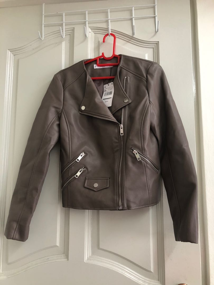 Mango Brown Leather Jacket Women S Fashion Clothes Outerwear On Carousell