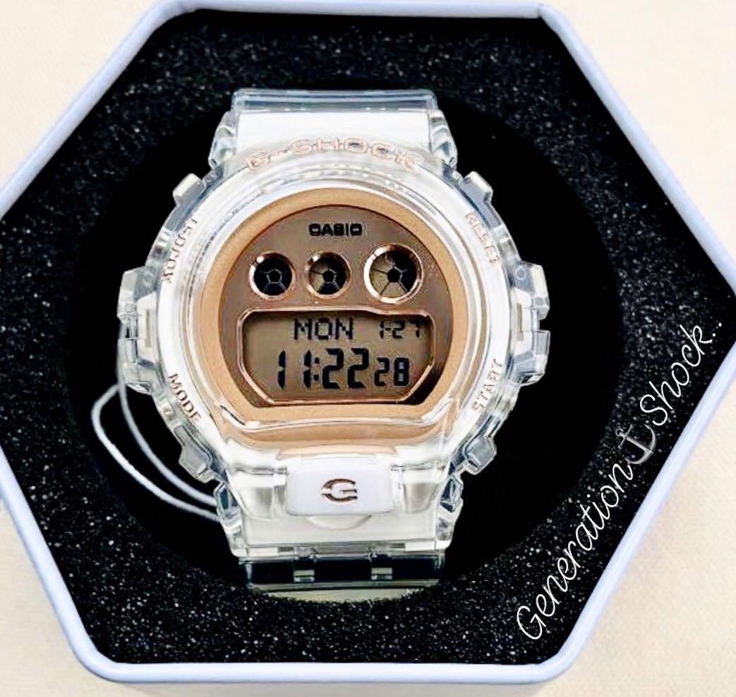 NEW🌟GSHOCK SKELETON UNISEX DIVER SPORTS WATCH : 100% ORIGINAL AUTHENTIC CASIO BABY-G-SHOCK : GMD-S6900SR-7DR / DW-6900-7DR (CRYSTAL ROSE🌹GOLD)