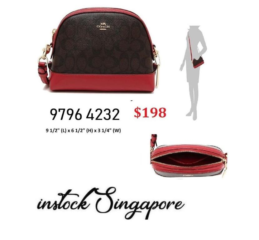 READY STOCK - AUTHENTIC - NEW  Coach DOME CROSSBODY IN SIGNATURE CANVAS (COACH F76674 IML72) BROWN/TRUE RED BROWN