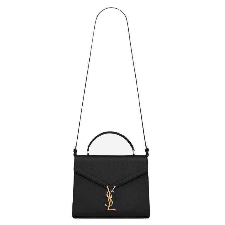 SAINT LAURENT CASSANDRA TOP HANDLE MEDIUM BAG IN GRAIN DE POUDRE EMBOSSED LEATHER BLACK YSL-578000