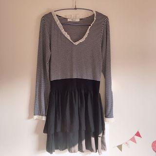 日系品牌 黑白條紋蛋糕裙洋裝