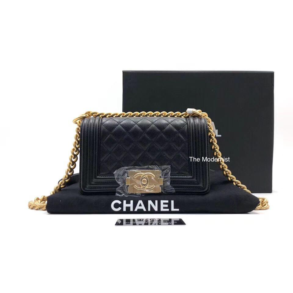 Authentic Brand New Chanel Small Boy Bag Black Caviar Leather Gold Hardware