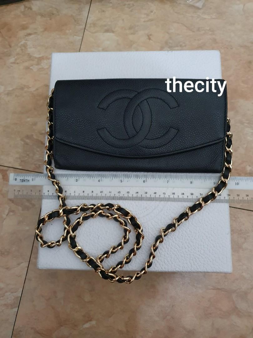 AUTHENTIC CHANEL BLACK CAVIAR LEATHER- LONG ORGANIZER / WALLET- BIG CC LOGO DESIGN, CLEAN INTERIOR- HOLOGRAM  PARTIALLY INTACT , WITH AUTHENTICITY CARD - GHW - TIMELESS VINTAGE, NO FUSSY BUYERS - WITH EXTRA ADD HOOKS & STRAP