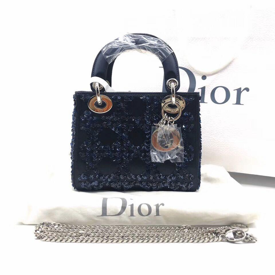 Authentic Pre-loved Christian Dior Mini Lady Dior Dark Blue Silk Satin Embroidered