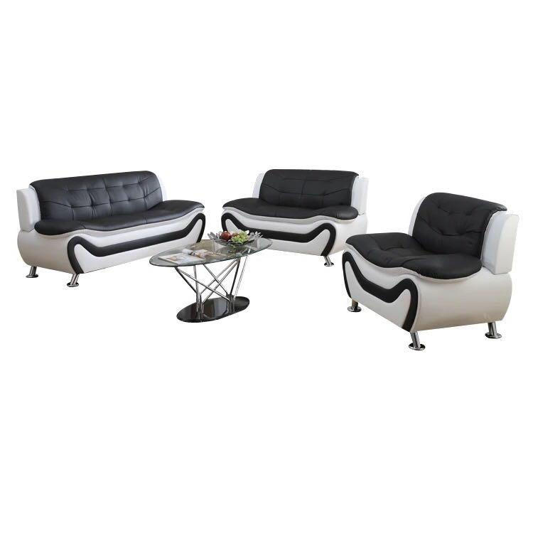 Classical 3pc Sectional Sofa Set, Faux Leather Upholstery Material, Black & Red