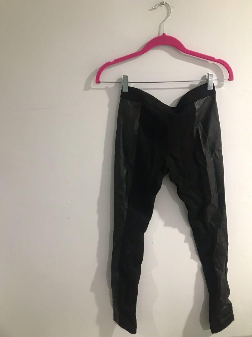 Club Monaco pants w. black faux leather side panels