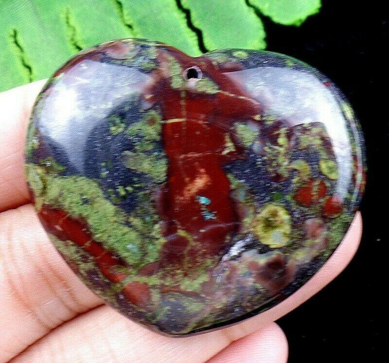 Gems- Natural Green Red Dragon Blood stone Heart Pendant Bead (SIZE 42MM) 2BLS132