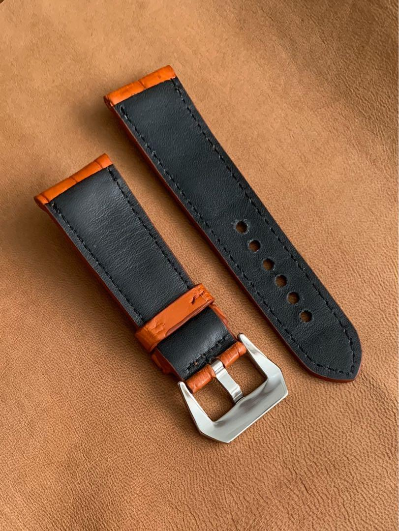 26mm/22mm Orange Brown Crocodile Alligator Watch Strap (similar colour to Hermes Orange, not Hermes brand) 26mm@lug/22mm@buckle  26mm/22mm (standard length- L:120mm, S:75mm) (only 1 piece 👍🏻- once sold, no more )