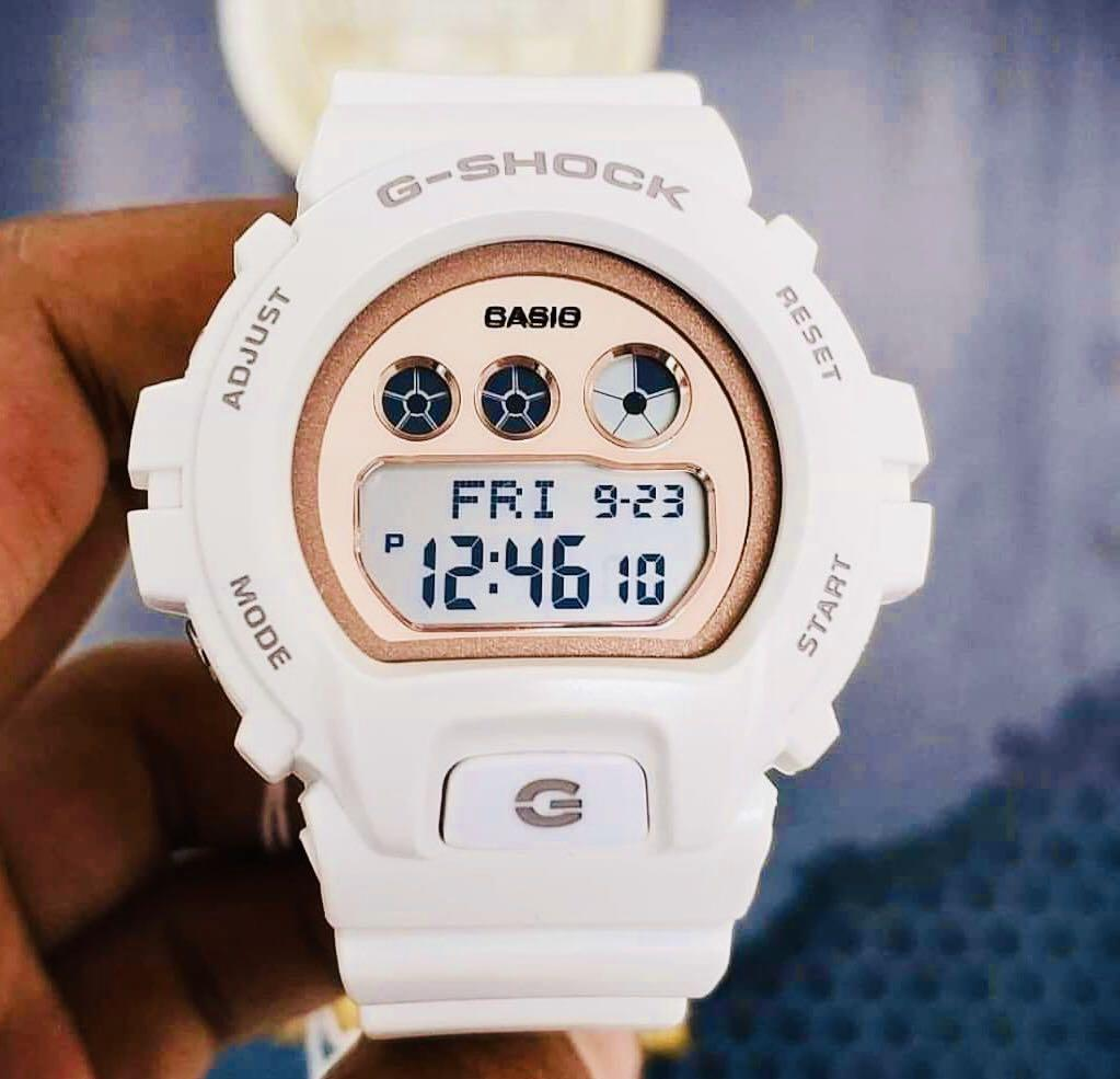 NEW🌟MINI-GSHOCK UNISEX DIVER SPORTS WATCH : 100% ORIGINAL AUTHENTIC CASIO BABY-G-SHOCK : GMD-S6900MC-7DR / GMD-S6900MC-7 / DW-6900-7 (WHITE ROSE🌹GOLD)