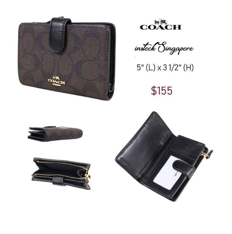 READY STOCK - AUTHENTIC - NEW $155 coach MEDIUM CORNER ZIP WALLET IN SIGNATURE COATED CANVAS (COACH F23553)