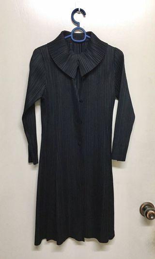 Pleated Black Buttondown Dress