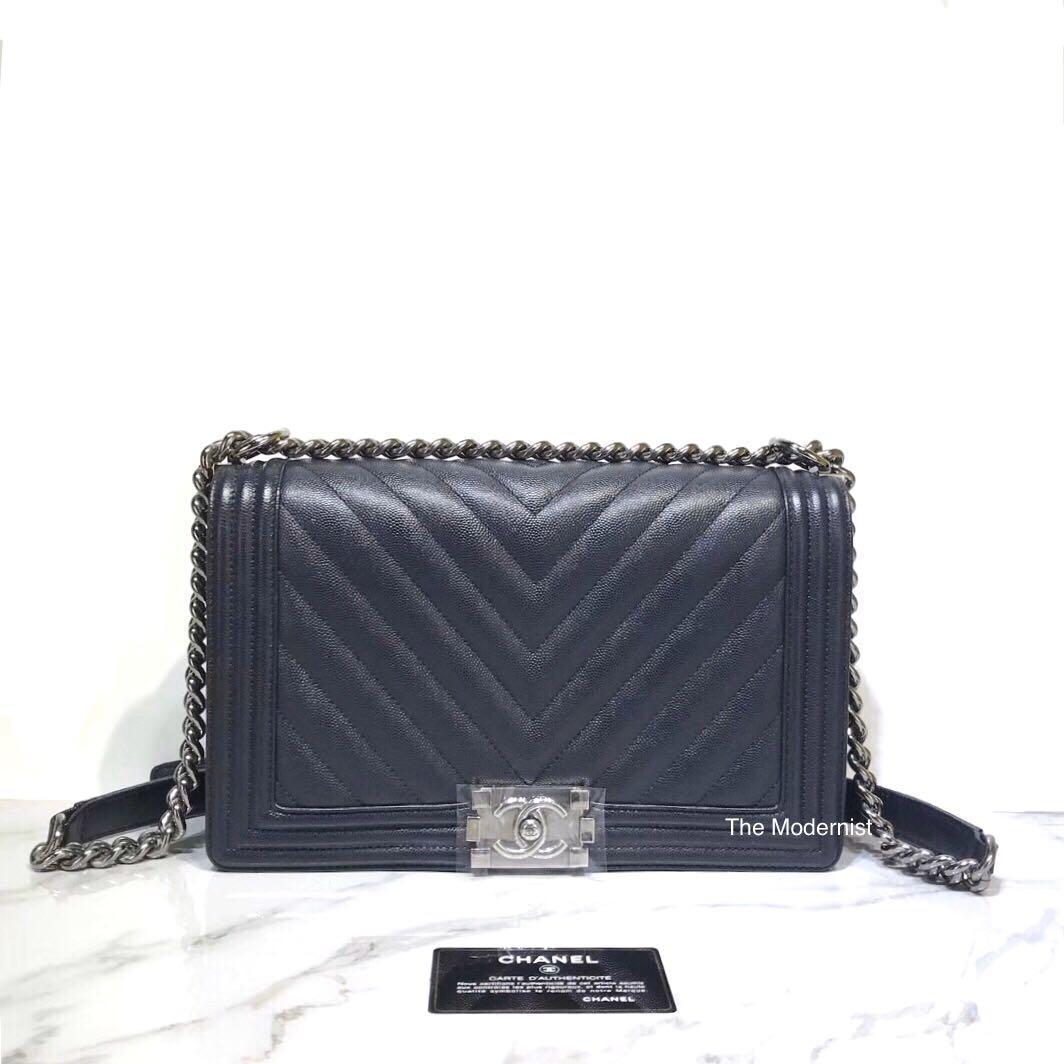 Authentic Chanel Dark Blue Chevron Caviar Leather Large Boy Bag (New Medium)