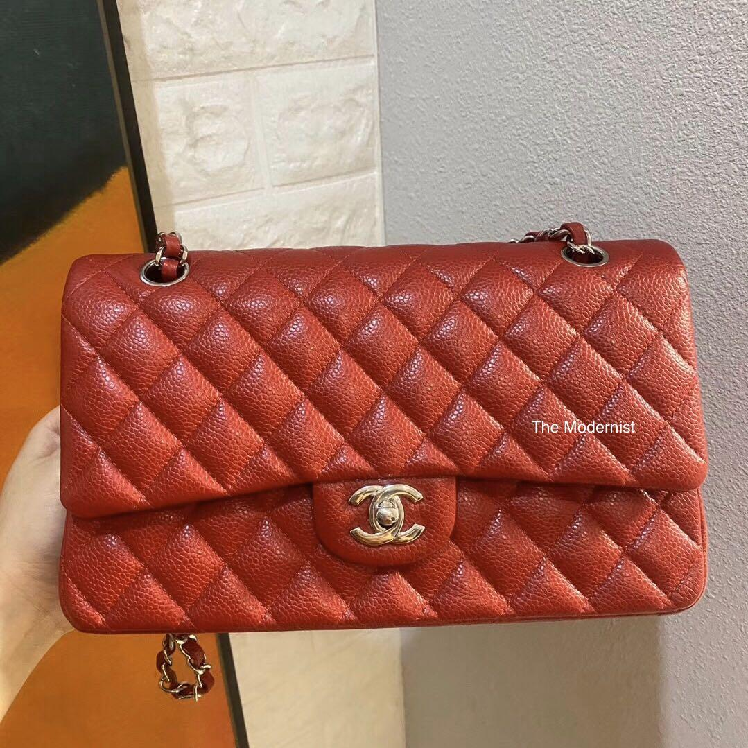 Authentic Chanel Red Caviar Leather Medium Double Flap Silver Hardware