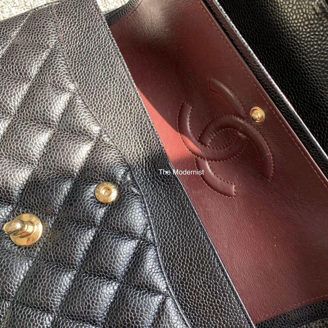 Authentic Pre-loved Chanel Black Caviar Leather Medium Double Flap Gold Hardware