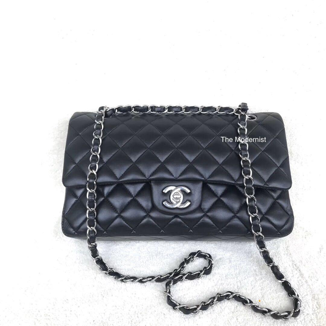 Authentic Pre-loved Chanel Black Lambskin Medium Flap Bag Silver Hardware