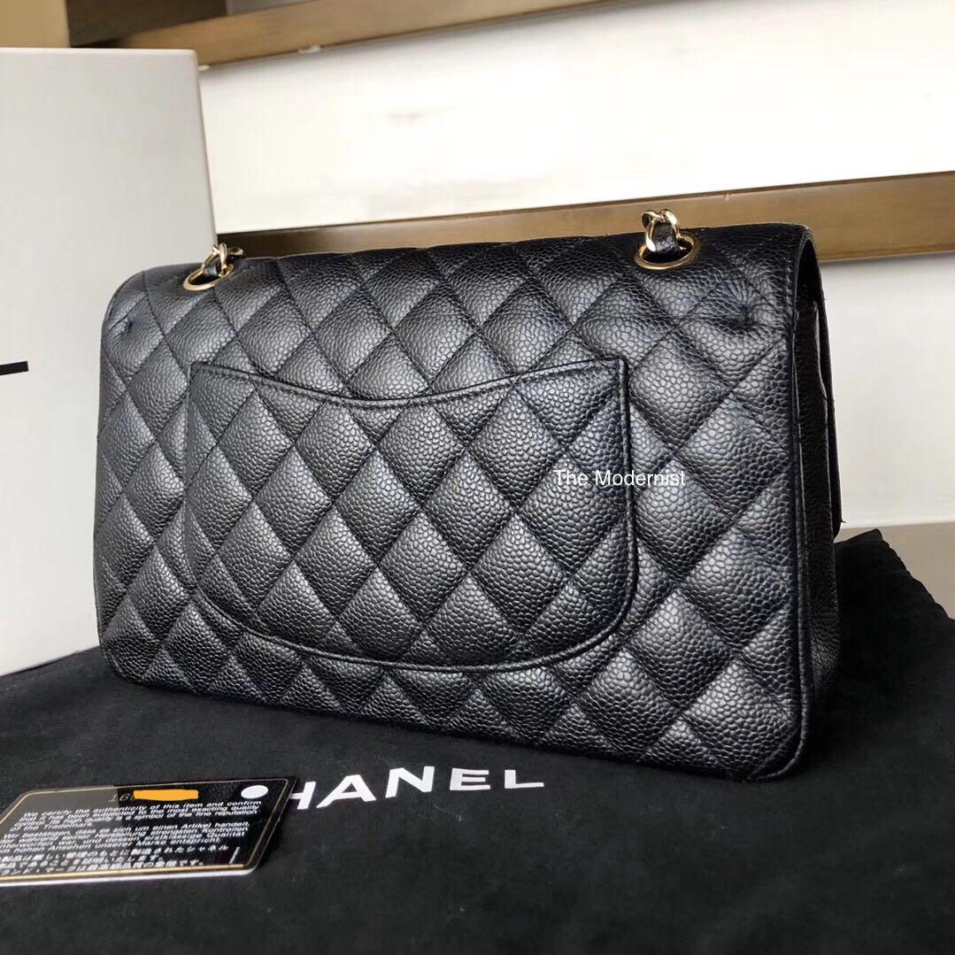 Authentic Pre-loved Chanel Classic Black Caviar Leather Medium Double Flap Gold Hardware