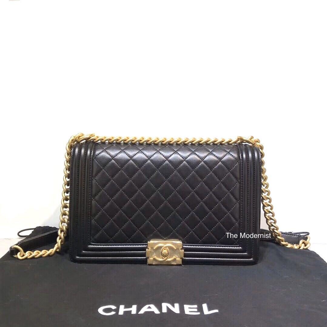Authentic Pre-loved Chanel Large Boy Bag (New Medium) Black Lambskin Gold Hardware