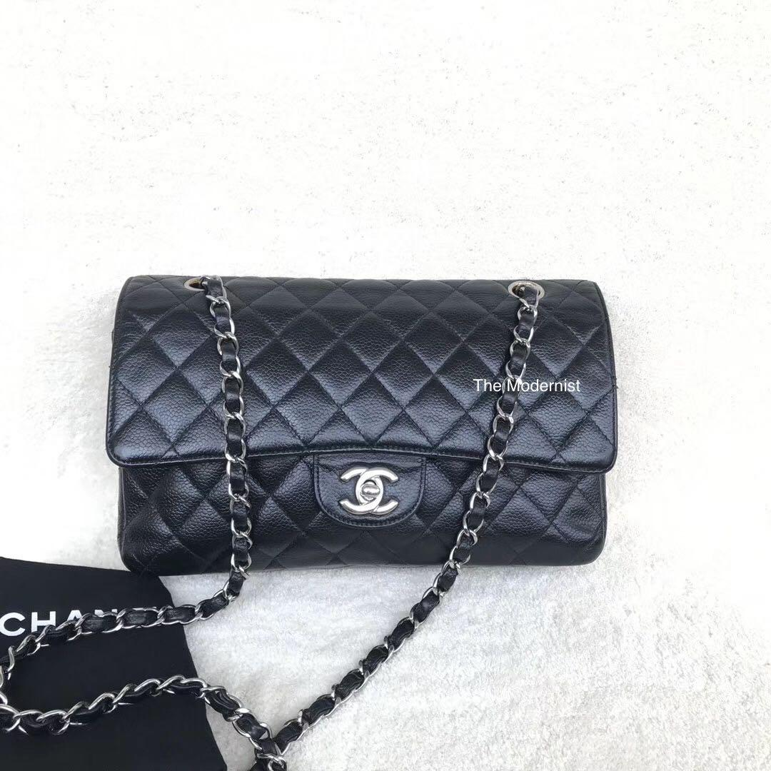 Authentic Pre-loved Chanel Medium Black Caviar Leather Silver Hardware Double Flap