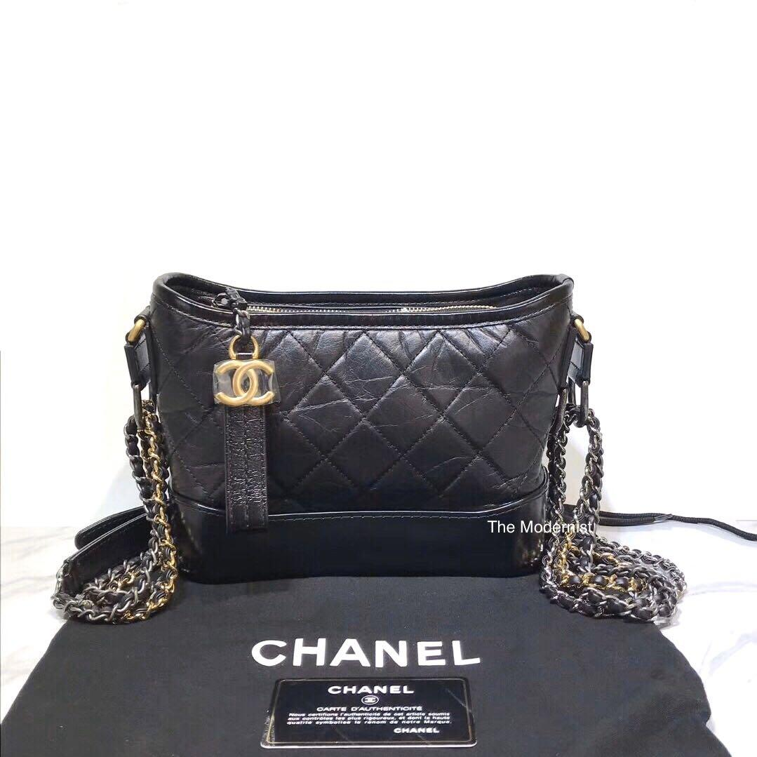 Authentic Pre-loved Chanel Small Gabrielle Hobo Bag Black With Gold Hardware