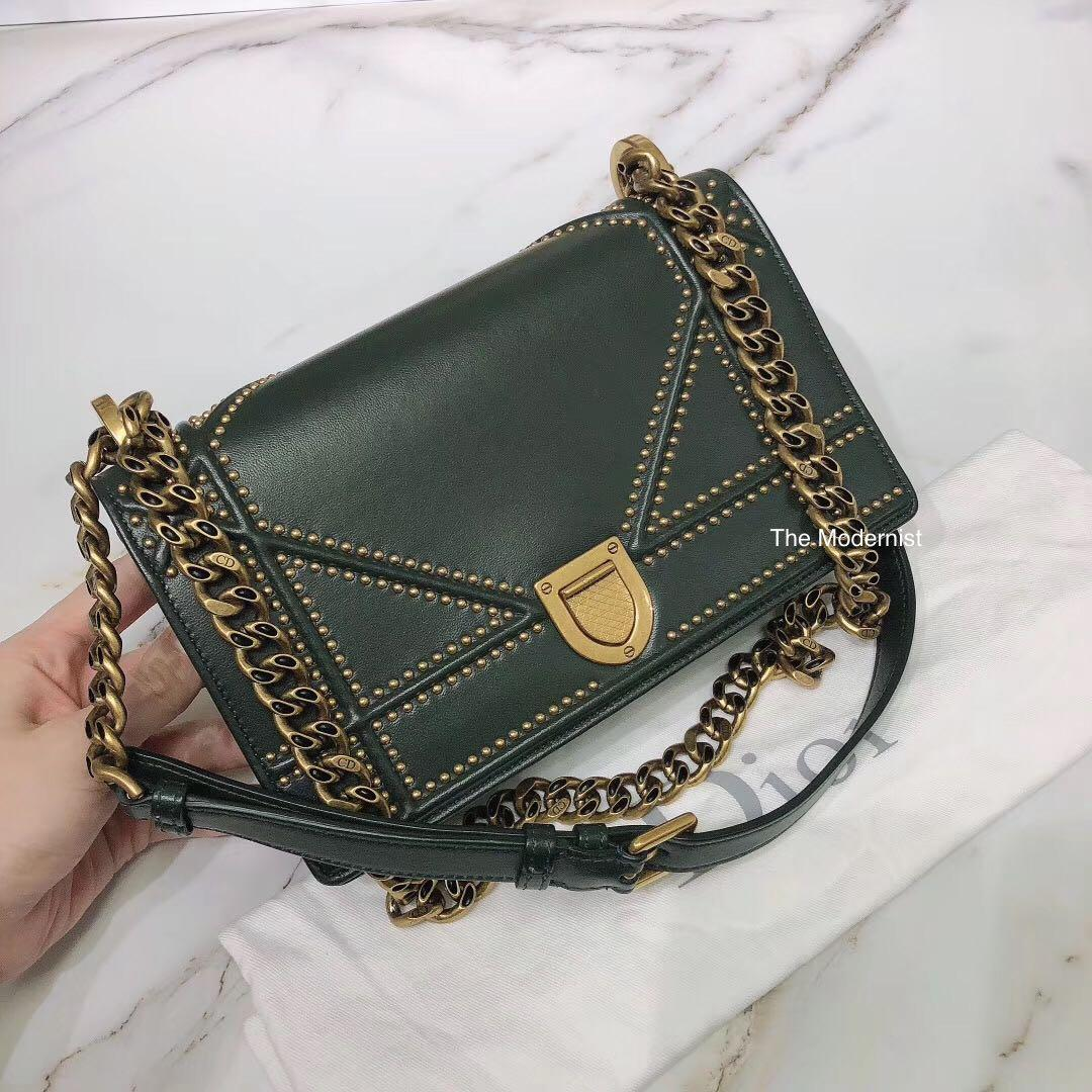 Authentic Pre-loved Christian Dior Dark Green Studded Small Diorama Bag