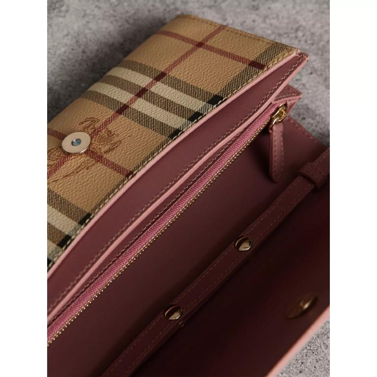 BURBERRY LEATHER TRIM HAYMARKET CHECK WALLET WITH CHAIN IN LIGHT ELDERBERRY BURBERRY-40609781