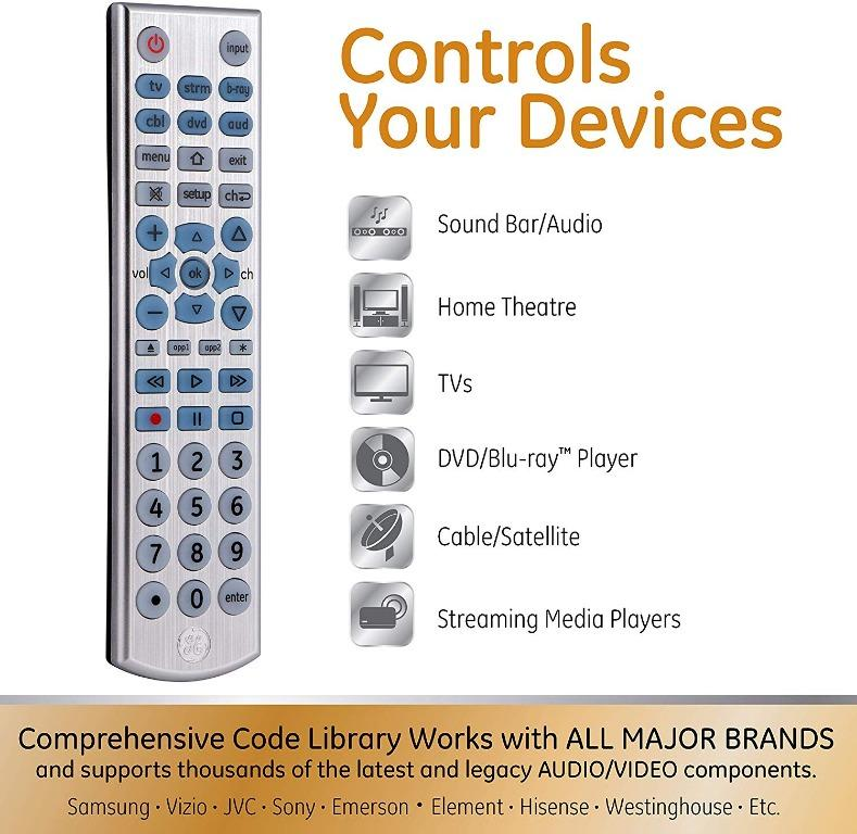GE Universal 6 Device Remote Control for Smart TVs, Streaming Players, Blu-ray/DVD