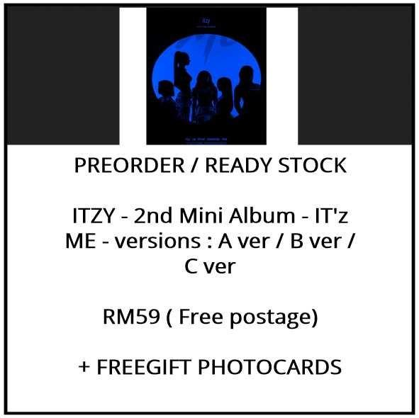 ITZY - 2nd Mini Album - IT'z ME - versions : A ver / B ver / C ver - PREORDER/READY STOCK+ FREE GIFT PHOTOCARDS