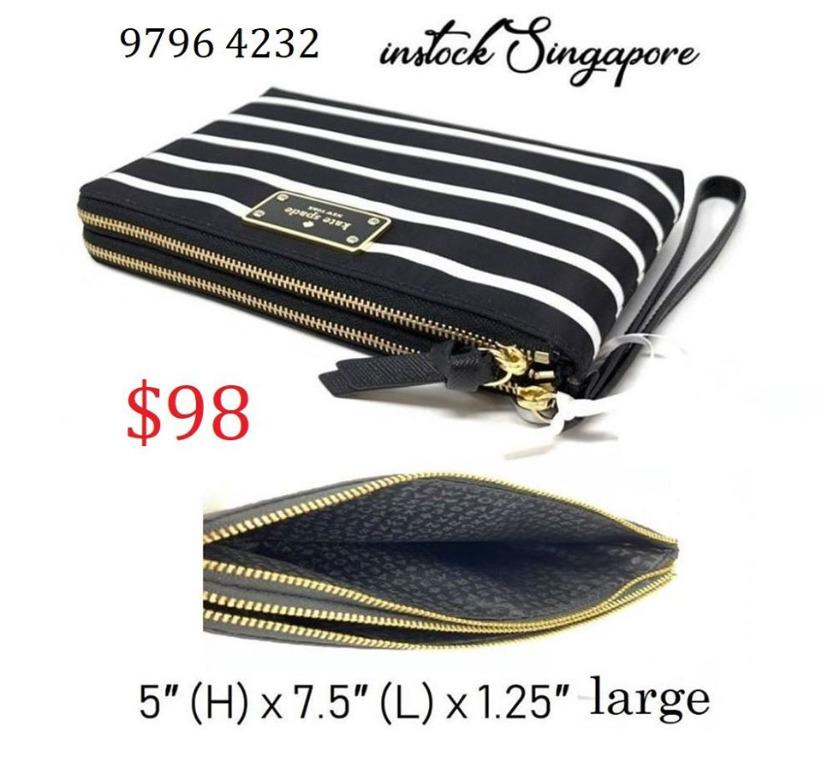 READY STOCK authentic new Kate Spade Wilson Road Leoni Double Zip French Stripe Nylon Wristlet WLRU5210