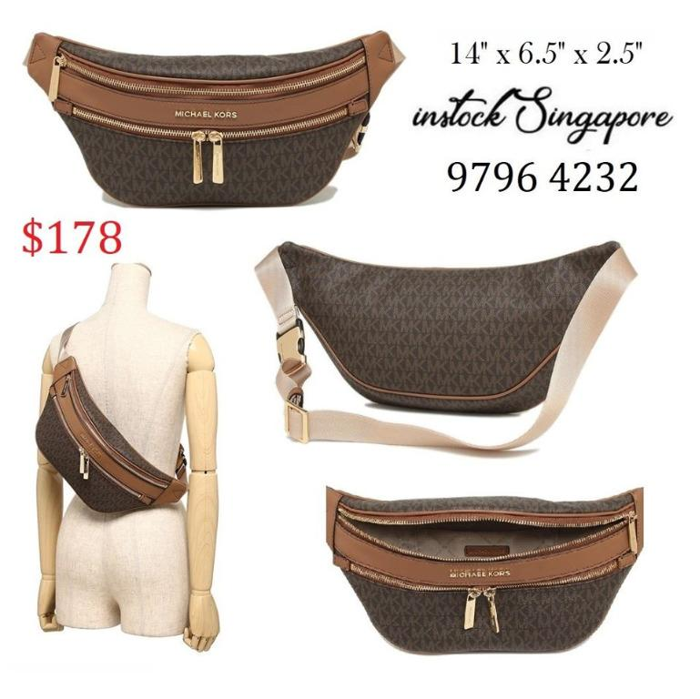READY STOCK authentic new Michael Kors 35T9GY9N8B Belt Mott Kenly Fanny Pack Rhea Waist Brown Leather Cross Body Bag