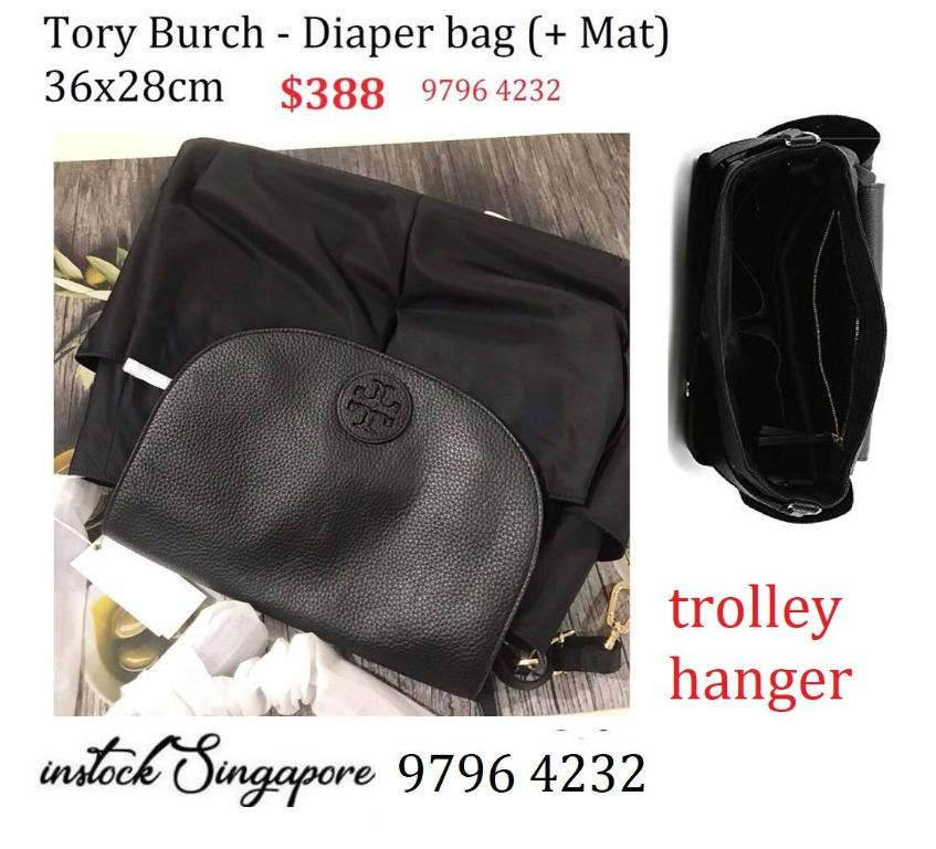 READY STOCK authentic new  Tory Burch Thea Travel Messenger Crossbody Black Nylon Diaper Bag 555310219 black/001