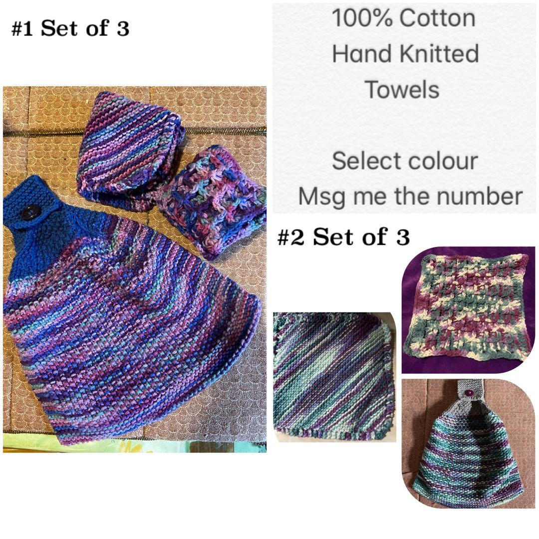 Set of 3 100% Cotton hand knitted towel/ dish cloth