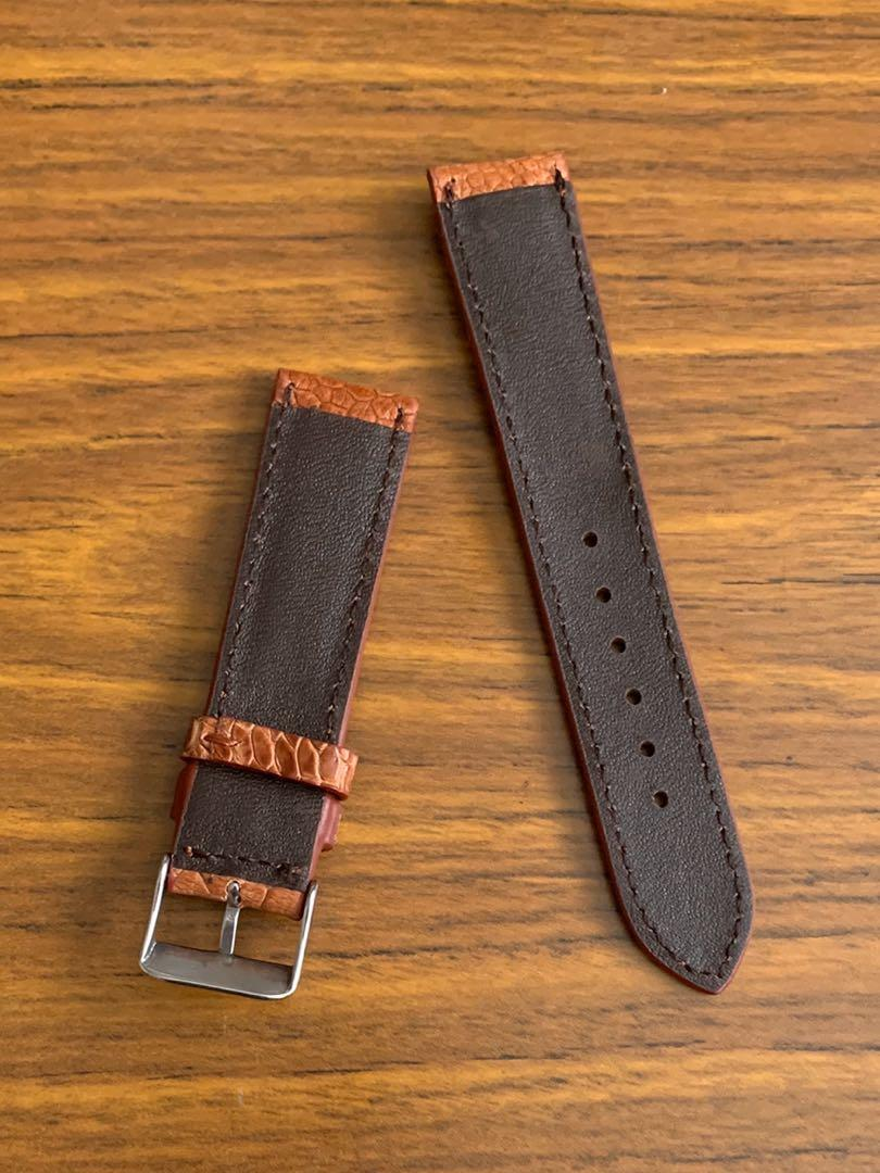 20mm/18mm Authentic Whiskey Havana Cigar Brown Ostrich Leg Watch Strap (only one piece in this colour, once sold no more 👍🏻🥂) Standard length- L:120mm, S:75mm