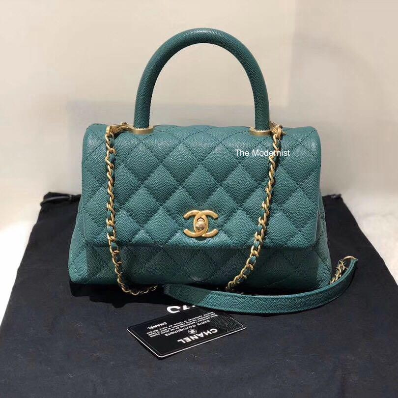 Authentic Chanel Coco Handle Small Emerald Green Caviar Leather Gold Hardware