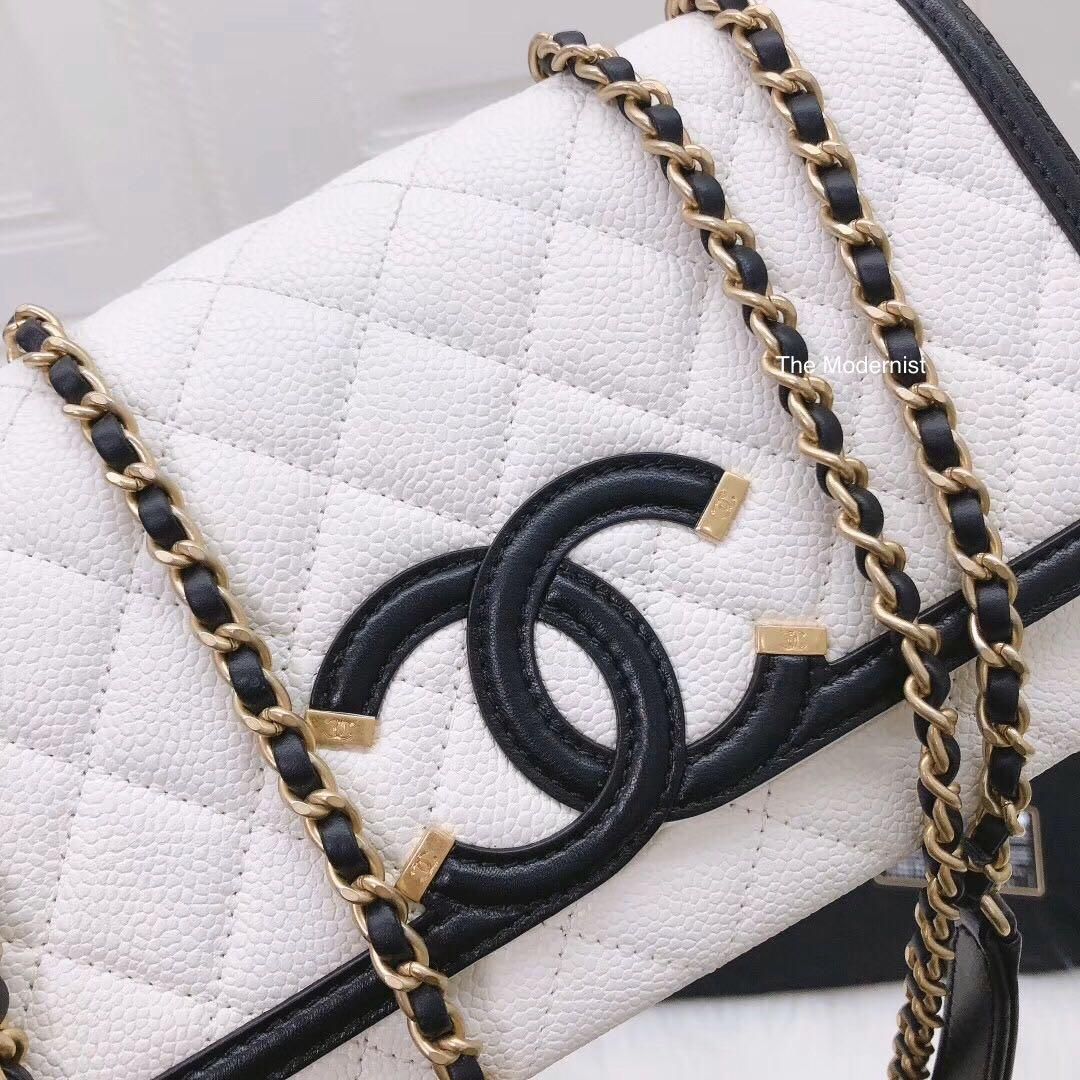 Authentic Pre-loved Chanel Filigree CC Caviar Leather Black/White Flap Bag