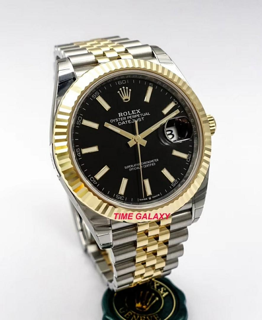 Brand New ROLEX Oyster Datejust 41mm Black Dial Automatic Steel And Yellow Gold Jubilee Bracelet Men's Watch. Swiss made. Ref model: 126333