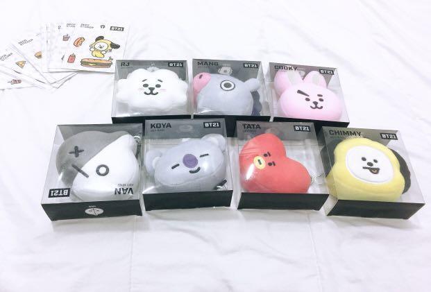 Bt21 official merchandise |  Bt21 Keychain plush head | Bt21 official gantungan kunci | Bts