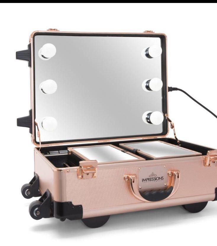 Impressions slay case pro vanity XL light up makeup train case with stands