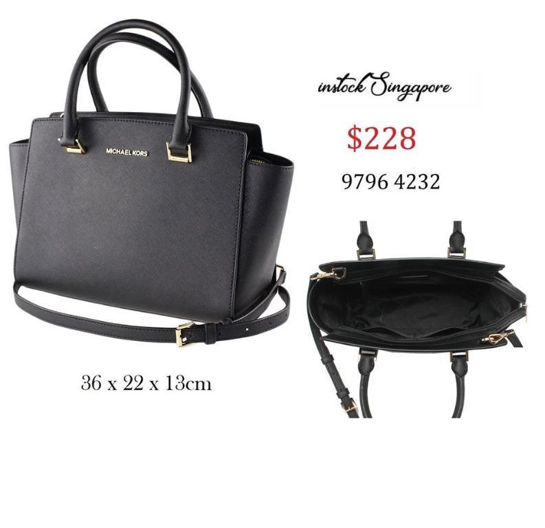 READY STOCK authentic new MICHAEL KORS bag shoulder bag 35H8GLMS2L Selma leather medium top zip Satchell