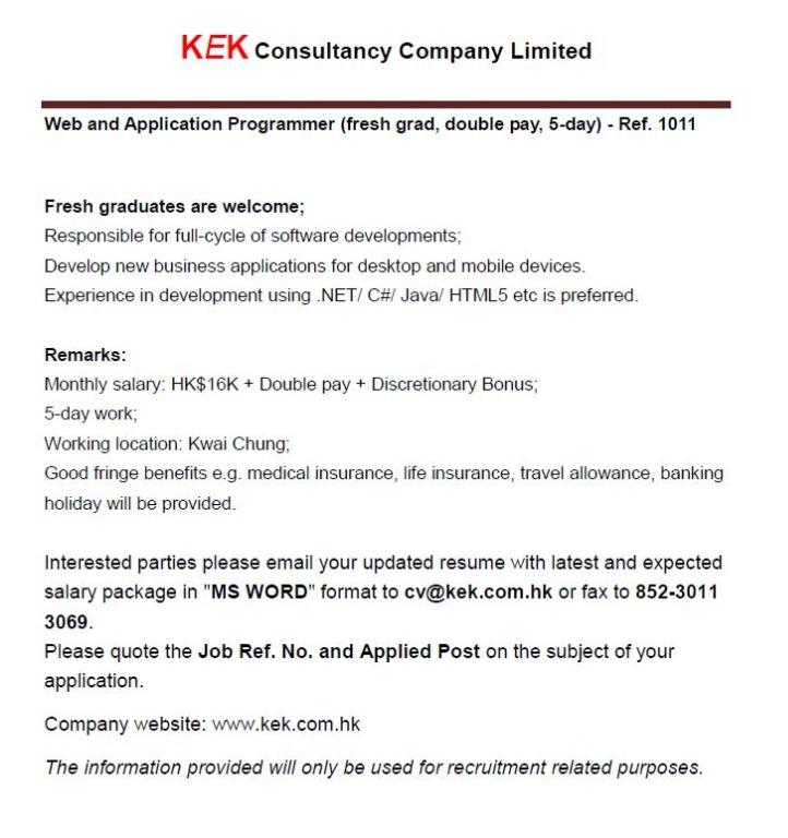 Web and Application Programmer - Ref. 1011