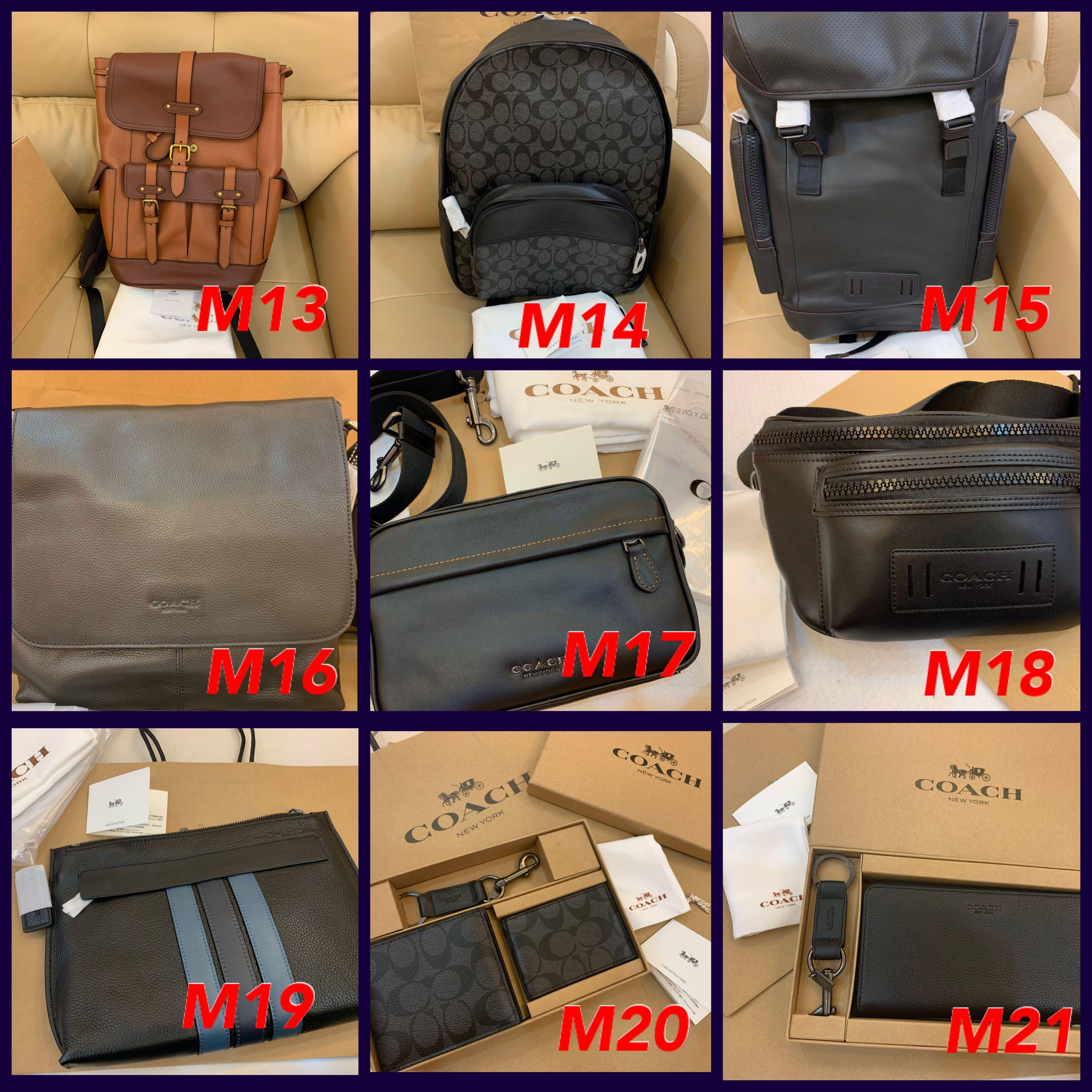 (25/02/20)Ready Stock Authentic coach men wallet purse belt leather backpack phone holder card holder clutch laptop bag chest bag messenger bag permanent listing