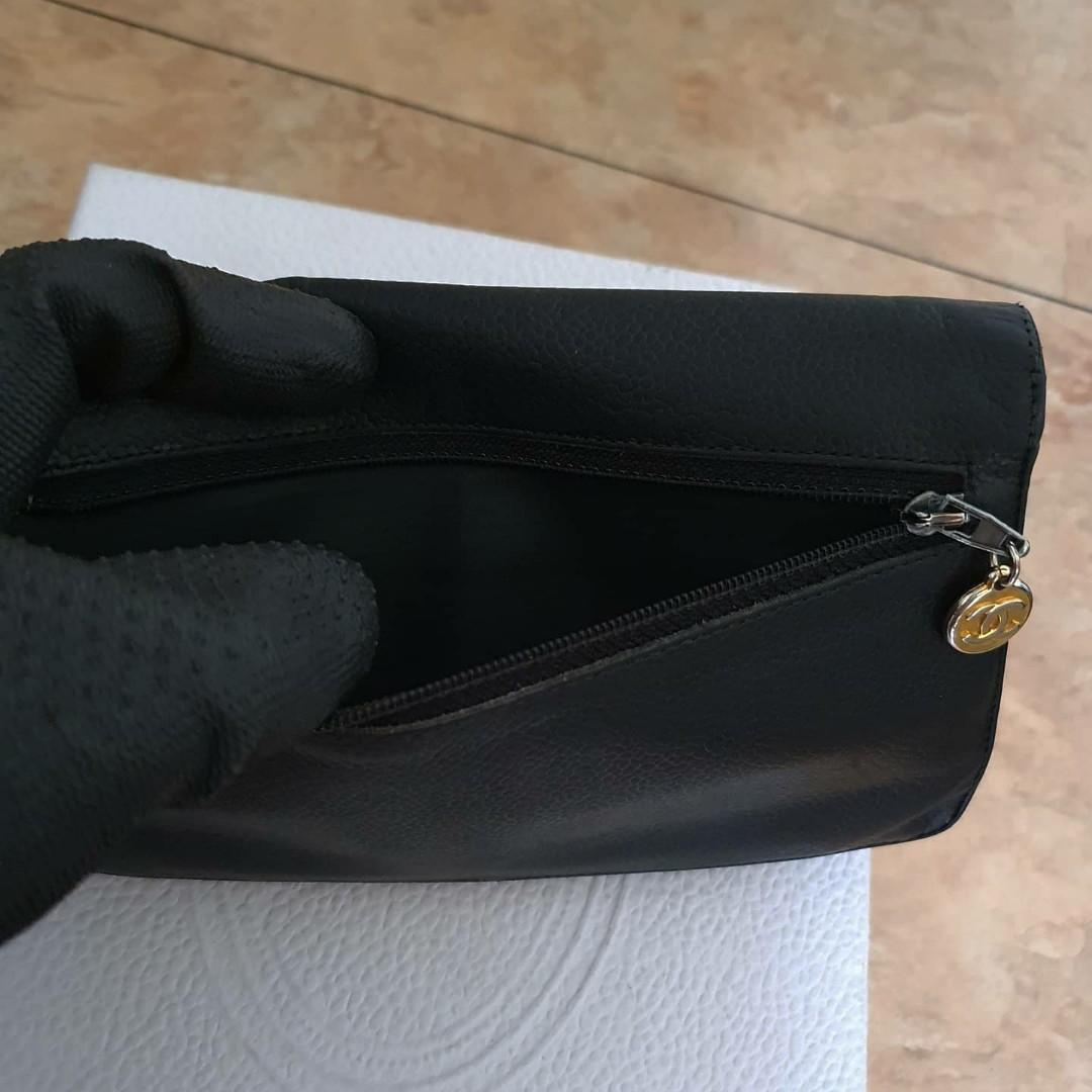 AUTHENTIC CHANEL XL ORGANIZER POUCH / WALLET - BLACK CAVIAR LEATHER- BIG CC LOGO DESIGN- GOLD HARDWARE- OVERALL FAIR / OK - HOLOGRAM STICKER INTACT - CLASSIC TIMELESS VINTAGE, SO NOT FOR FUSSY BUYERS- COMES WITH EXTRA ADD HOOKS & LONG CHAIN STRAP