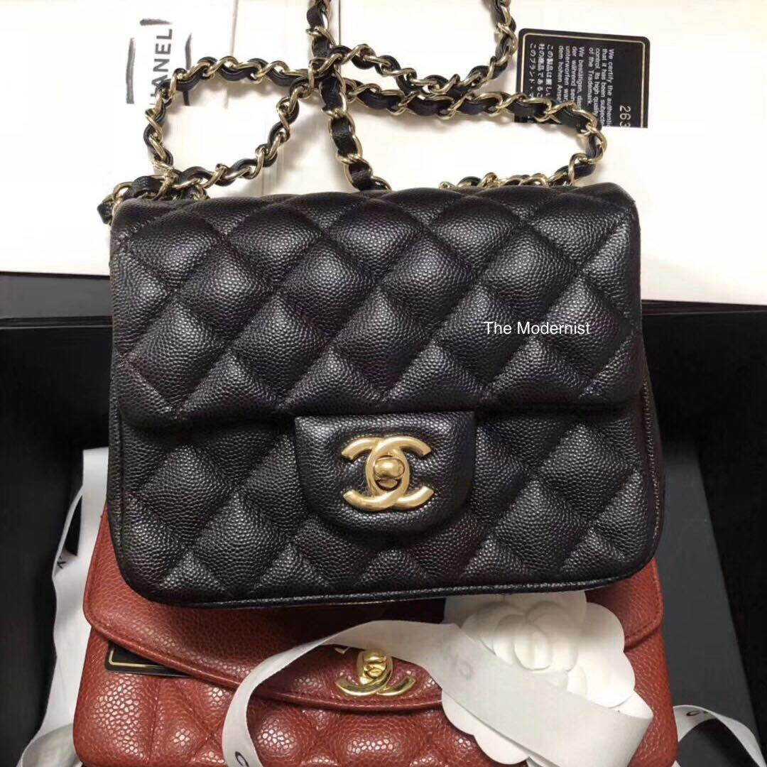 Authentic Pre-loved Chanel Black Caviar Leather Square Mini Gold Hardware
