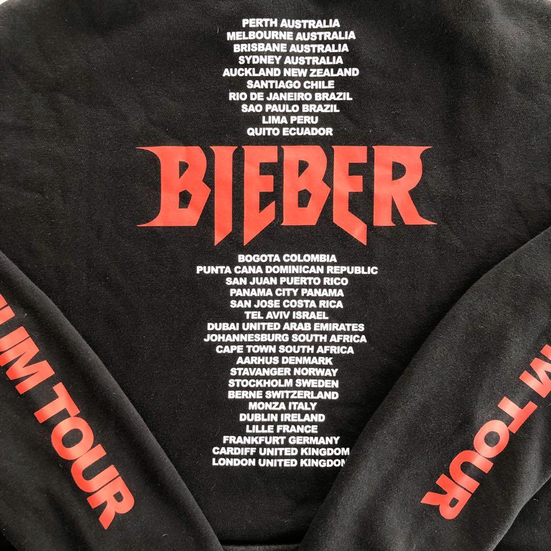 Bieber Stadium Purpose World Tour Cropped Hoodie Size L