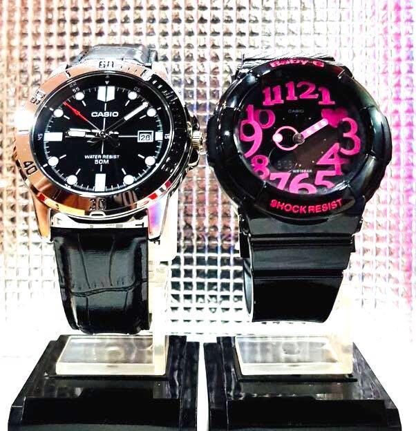 NEW🌟COUPLE💝SET : CASIO🌟BABYG DIVER SPORTS WATCH  : 100% ORIGINAL AUTHENTIC BABY-G-SHOCK ( GSHOCK ) Company : MTP-VD01L-1EV + BGA-130-1B