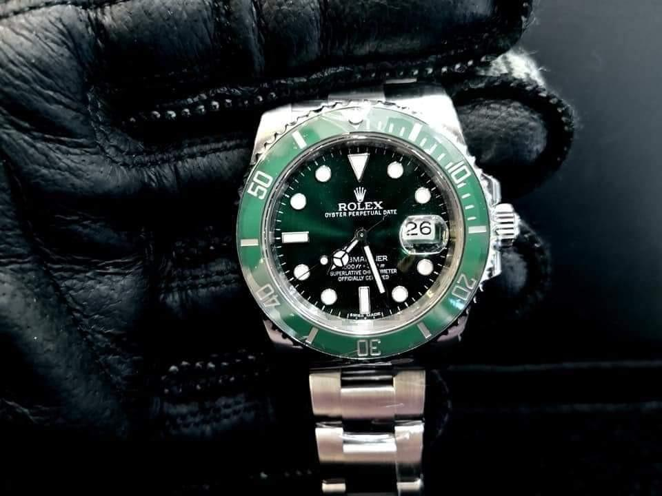 PREOWNED ROLEX SUBMARINER, Green HULK, 116610 LV, Oystersteel, 40mm, Alphanumeric Series, Year 2014 Mens Watch