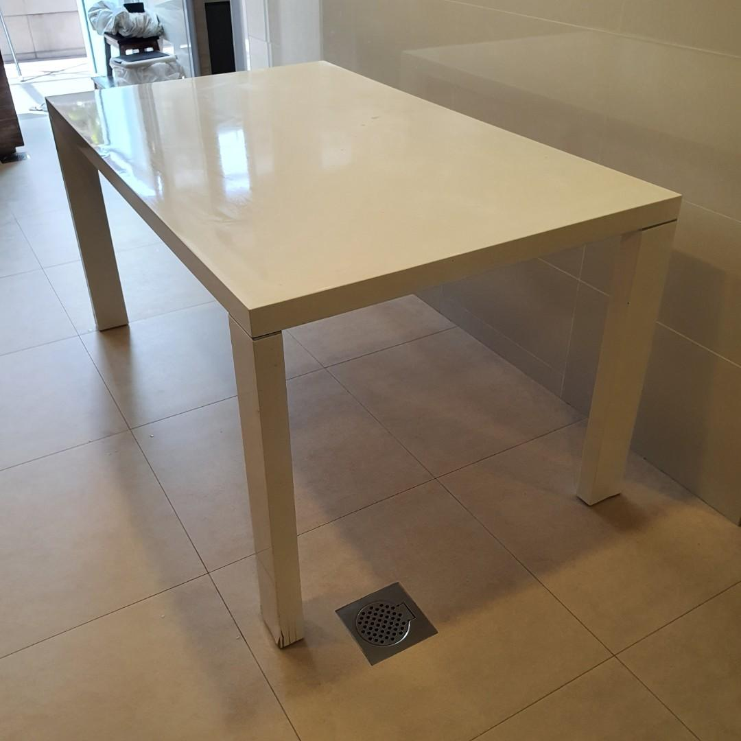 White Ikea Dining Table Furniture Tables Chairs On Carousell