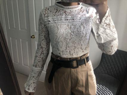 Cropped long sleeve dressy top